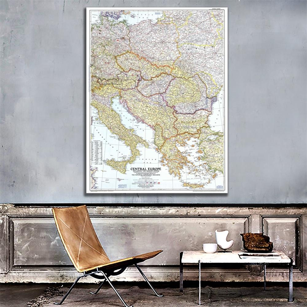 23.6x35.4 Inches HD Spray Painting Unframed Map Of Central Europe Including Balkan States For Wall Decor
