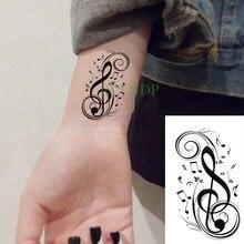 Водонепроницаемый временная татуировка Стикеры в виде скрипичного ключа, татуировки вспышки искусственные татуировки тату и Серебрянного...
