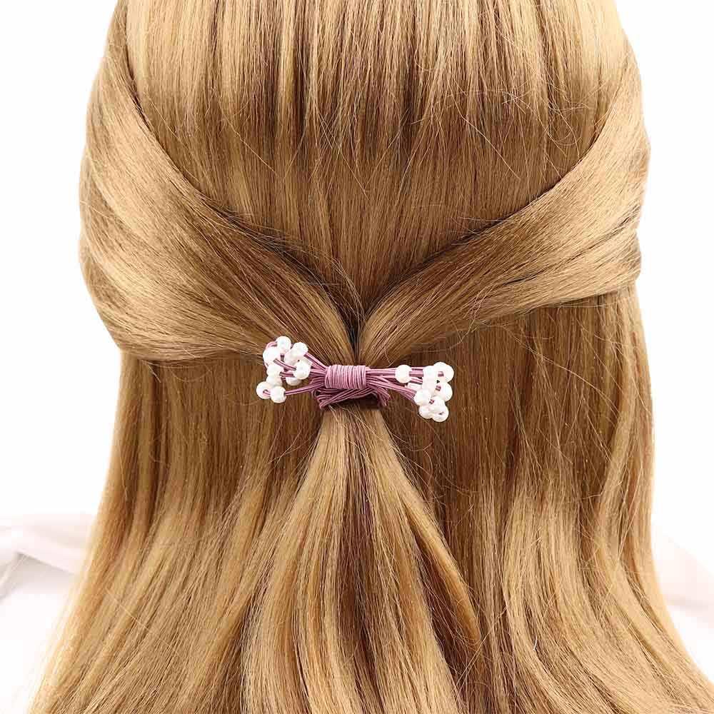 """Мода Для женщин аксессуары для волос с жемчугом бусины повязка для волос """"конский хвост"""" для девочек, обтянутая тканью; эластичная резинка для волос резинки для волос кольцо"""