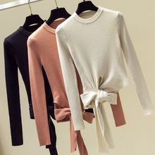 Womens Winter Long Sleeve Ribbed Knit Sweaters Round Neck Slim Fit Casual Pullover Tops Cute Side Tie Up Bowknot Plain Shirts недорого