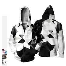 Fashion casual Creative unisex vortex black and white 3D printed Sweatshirt Cosplay costume baseball uniform jacket