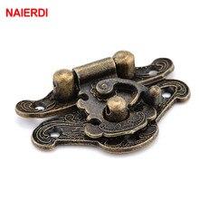 Hasp-Latch Case-Locks Decorative-Handle Cabinet-Buckle Jewelry Wooden-Box Bronze Antique