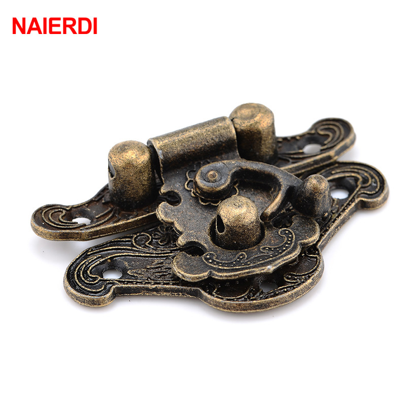 NAIERDI 4pcs Antique Bronze Hasp Latch Jewelry Wooden Box Lock Mini Cabinet Buckle Case Locks Decorative Handle 3 Size