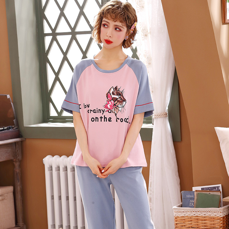 Peach Scent Knitted Cotton Women's Crew Neck Short-sleeve Pullover Shorts Two-Piece Casual Pajamas Homewear Set