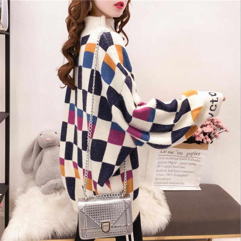 Di modo di Colore di Colpo Plaid Maglione Autunno Inverno Lettera Dolcevita Pullover Loose Fit casual Maglione Delle Donne Abiti