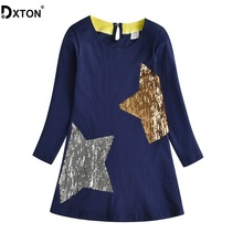DXTON Girls Autumn and Winter Dress Sequined Long Sleeve Kids For Star Children Vestidos Casual Girl Costume