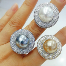 GODKI 2020 Trendy Runde Perle Erklärung Ringe für Frauen Cubic Zirkon Finger Ringe Perlen Charme Ring Böhmischen Strand Schmuck 2019