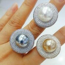 Godki 2020 na moda redondo pérola anéis de declaração para as mulheres zircão cúbico anéis de dedo contas charme anel boêmio praia jóias 2019