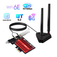 Fenvi Wi-Fi 6E Intel AX210 3000Mbps PCIe de red inalámbrica Wi-Fi adaptador Wlan 2,4G/5G/6Ghz 802.11AX Bluetooth 5,2 de Windows 10
