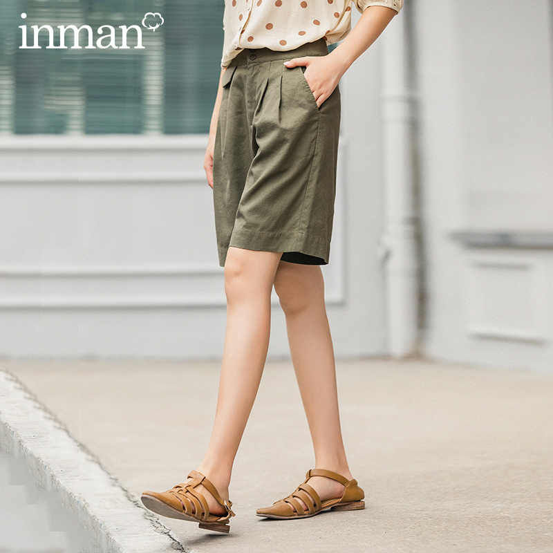 INMAN 2020 Summer New Arrival Cotton And Linen Casual Safari Style Handsome Vintage Slight Fold Bermuda Pant