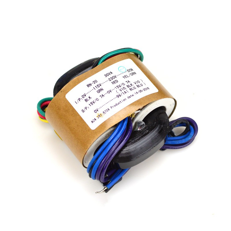 1pc R Type Transformer 30W 0V-115V-230V-SCN(Shielded Wire) <font><b>30VA</b></font> Double 9V 12V 15V 18V 24V 79×68×40(mm)For Audiophile Design image