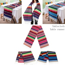 3 Color Mexican Style Tablecloth Table Runner Blanket Shawl  Cotton Fringe Fringe Mexican Theme Party Wedding Home Decoration home practical fashion table flag beach towel mexican style blanket picnic blanket handmade striped tablecloth
