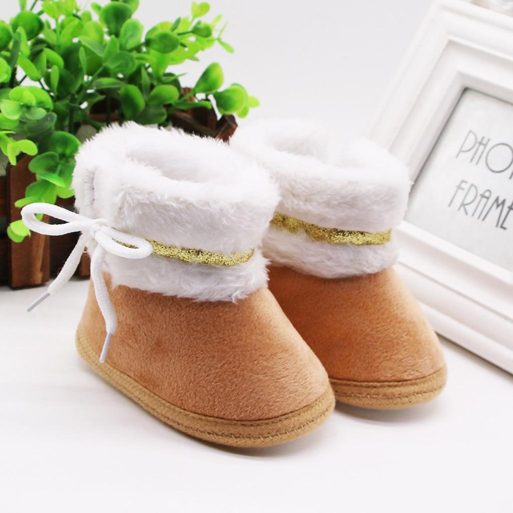 Infant Newborn Baby Girls Shoes Cashmere Plush Winter Boots Bandage Warm Shoes K