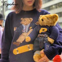 Marca de luxo novo urso jacquard malha pulôver das mulheres 2020 outono inverno manga longa carta bordado casual puxar femme