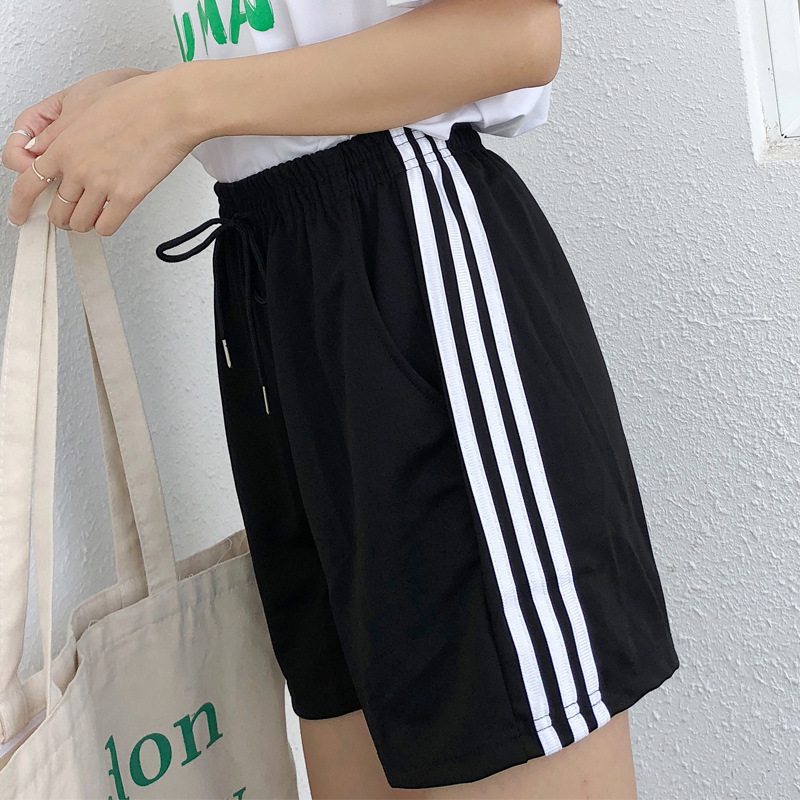 INS Sports Students Loose-Fit Korean-style Ulzzang Versatile Fashion Harajuku BF Wide-Leg Short Pants Smell GIRL'S Summer