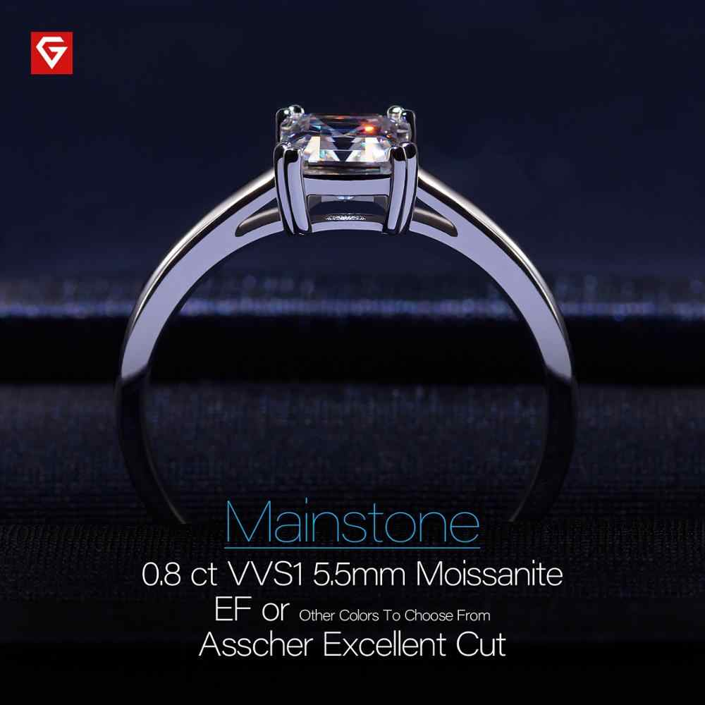 Gigajewe 0.8ct 5.5 Mm EF Asscher 18K Emas Putih Berlapis 925 Perak Moissanite Cincin Berlian Lulus Tes Perhiasan Wanita gadis Hadiah