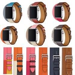 2018 новый для iwatch браслет из натуральной кожи Double Tour группа для ремешок для часов аpple серии 4 Херм браслет 40 мм 44 мм