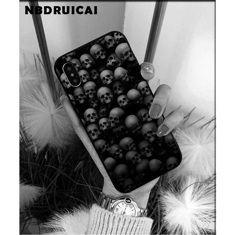 NBDRUICAI המעניש מסכת גולגולת TPU רך סיליקון טלפון Case כיסוי עבור iPhone 11 פרו XS מקסימום 8 7 6 6S בתוספת X 5 5S SE XR מקרה