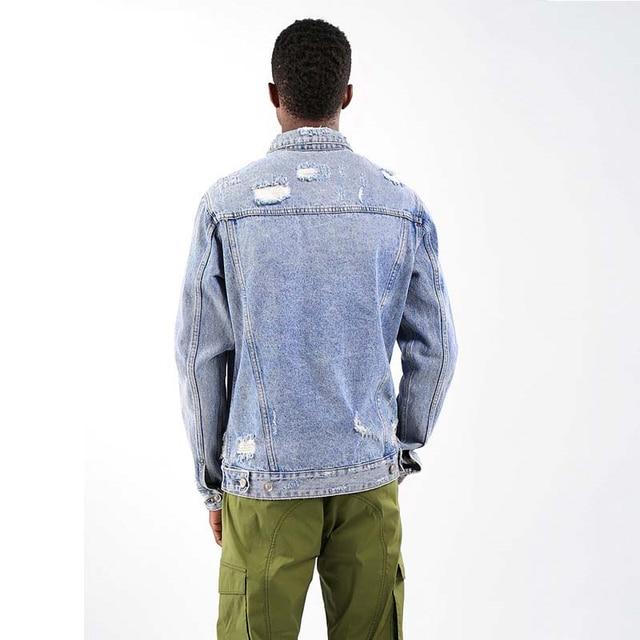 Japonais Harajuku Vintage en détresse bleu clair veste en Jean pour hommes urbain garçons Streetwear Hip Hop côtelé bleu clair veste en Jean