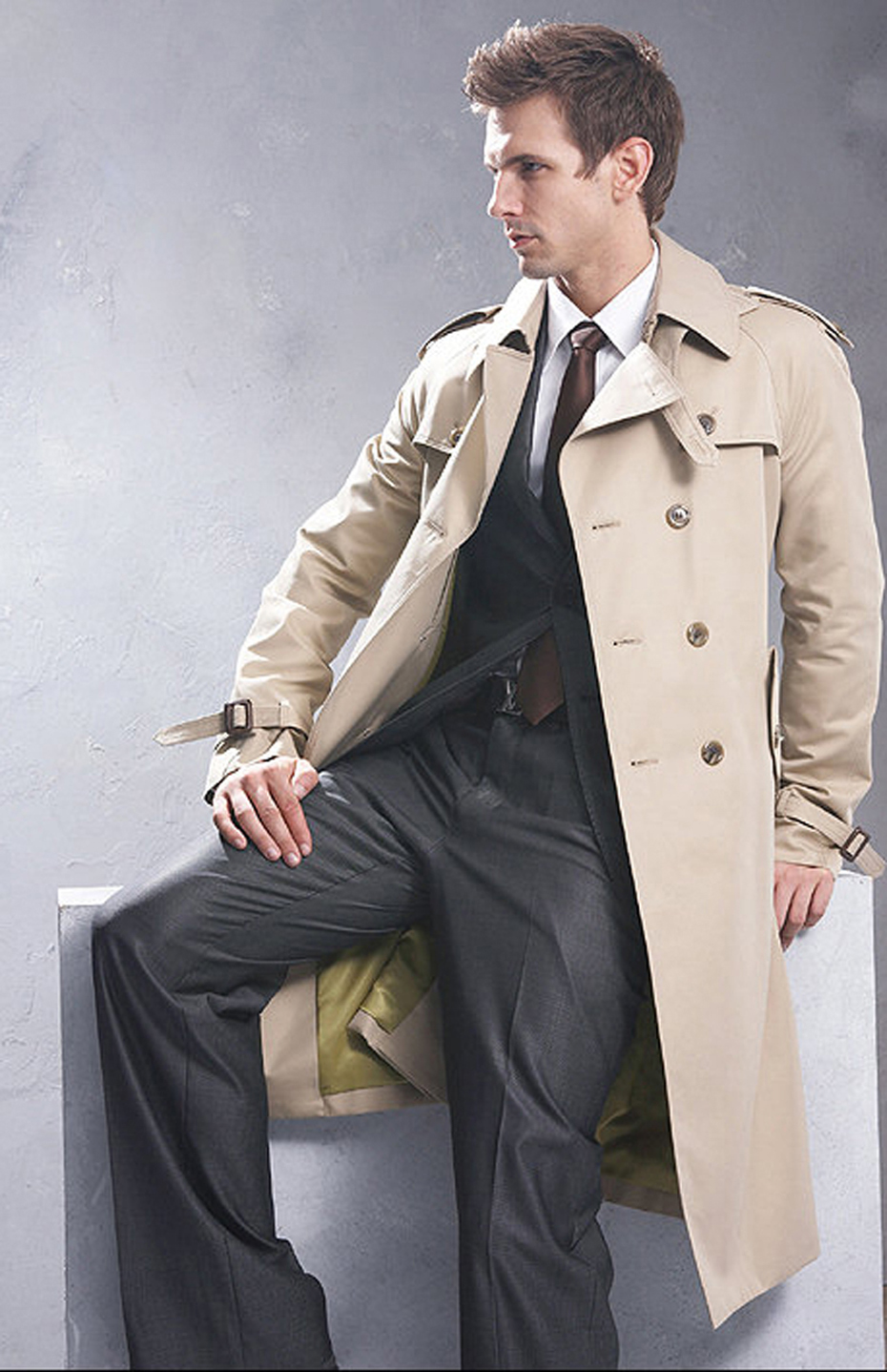 New Trench Coat Men Classic Double Breasted Mens Long Coat Mens Clothing Long Jackets & Coats British Style Overcoat S-6XL Size