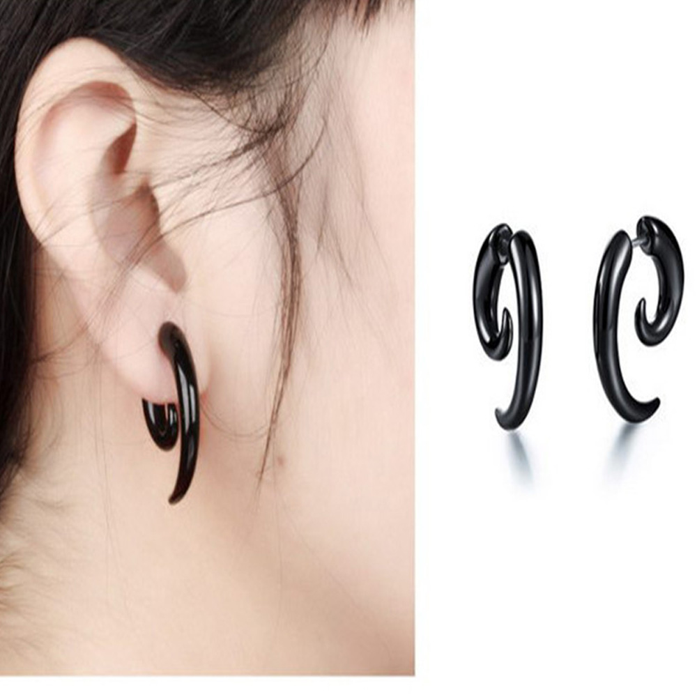 2pcs Acrylic <font><b>Fake</b></font> Cheater Twist Spiral <font><b>Ear</b></font> Taper Gauges Expander Earring plug Body piercing jewelry image
