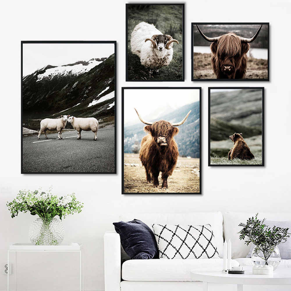 HD Animal Image Antelope Picture Scandinavian Poster Nordic Landscape Print Wall Art Painting Nature Living Room Decor Unframe