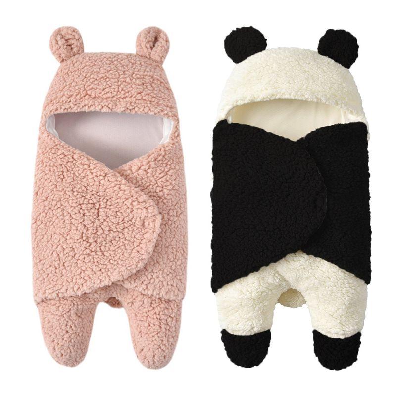 Infant Autumn And Winter Plush Swaddle  Baby Cartoon Hug Blanket Sleeping Bag G99C