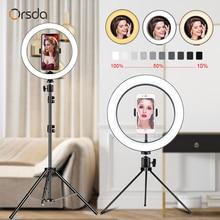 Orsda LED リングライト 10 インチの写真撮影調光リングライト Youtube 3500 5500 18k USB プラグ Selfie リングライト携帯電話ブラケット