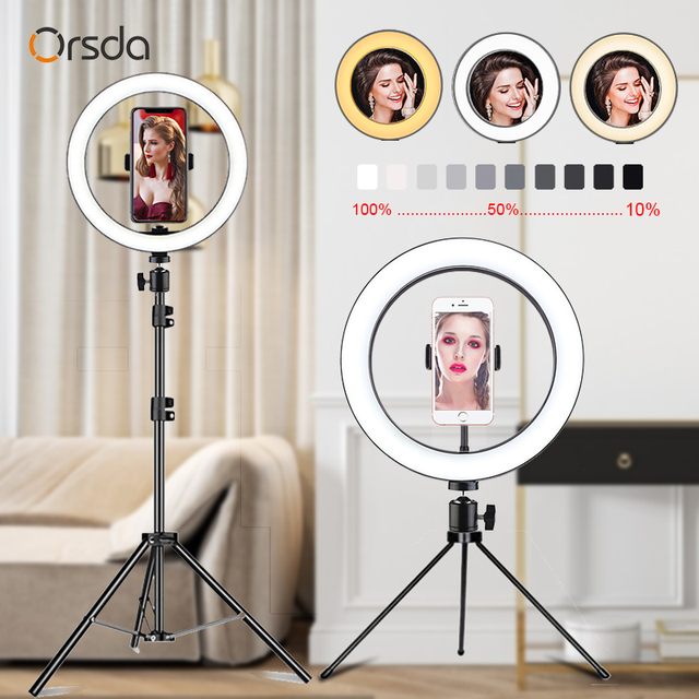 Orsda LED Ring Licht 10 Zoll Fotografie Dimmen ringlight Youtube 3500 5500k USB Stecker Selfie Ring Licht Mobile telefon Halterung