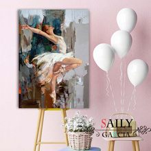 High Quality Handmade Original Dancing Ballerina Oil Painting Famous Mahnoor Artist Painted Abstract Ballet Girl Wall Painting(China)