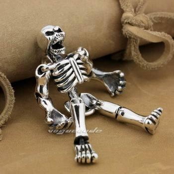 Huge Heavy 925 Sterling Silver Movable Limbs Skull Robot Mens Biker Rock Punk Pendant 9L019