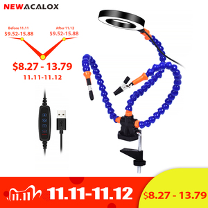 NEWACALOX Soldering Holder 3X LED Magnifier Table Clamp PCB Welding Third Hand Helping Hand Tool for Soldering Assembly Repair