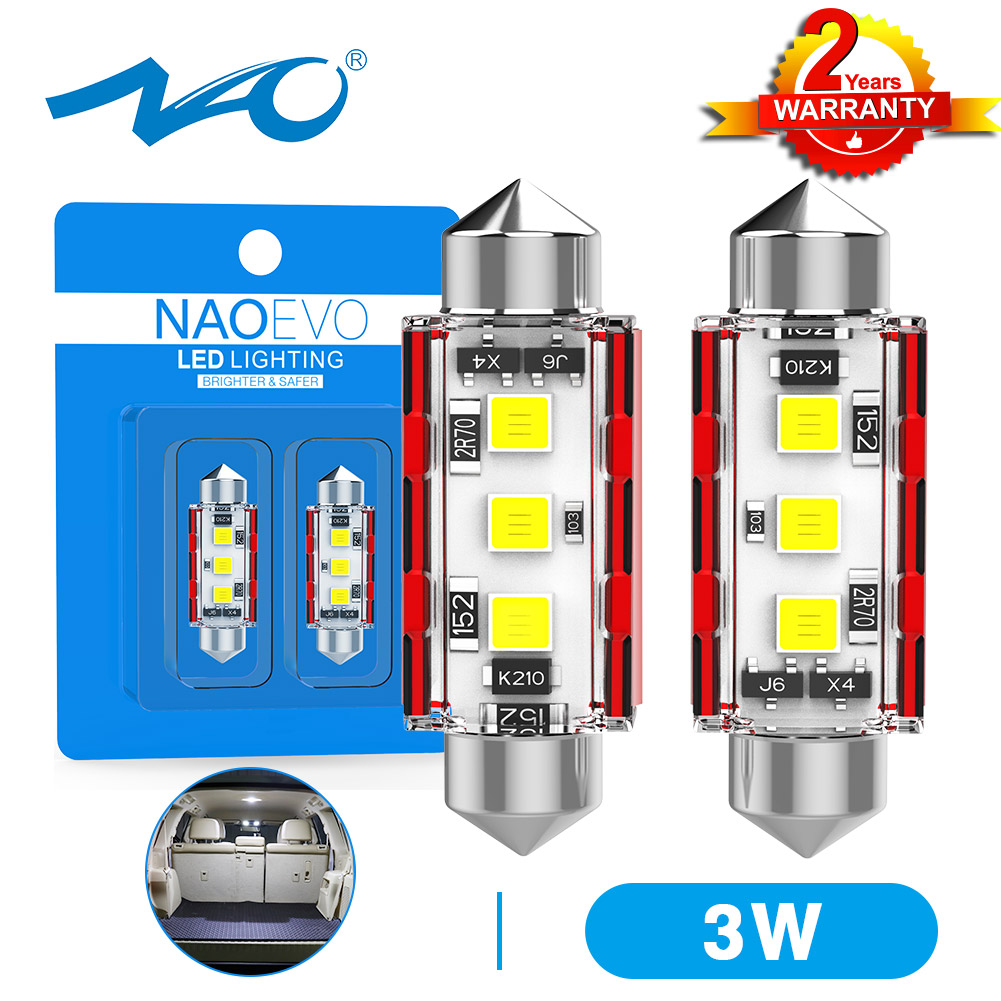 NAO C5W светодиодный CANBUS 31 мм Festoon C10W 28 36 39 41 44 мм 12 в 24 в автомобильный интерьерный светильник 3030 3 SMD авто номерной знак купольная лампа