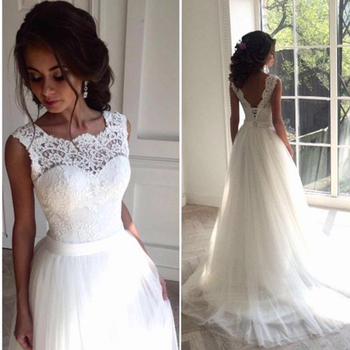 2020 New Lace O-Neck Lace Tulle Boho cheap Wedding Dresses Summer Beach Bridal Gown Bohemian Wedding Gowns robe de mariage
