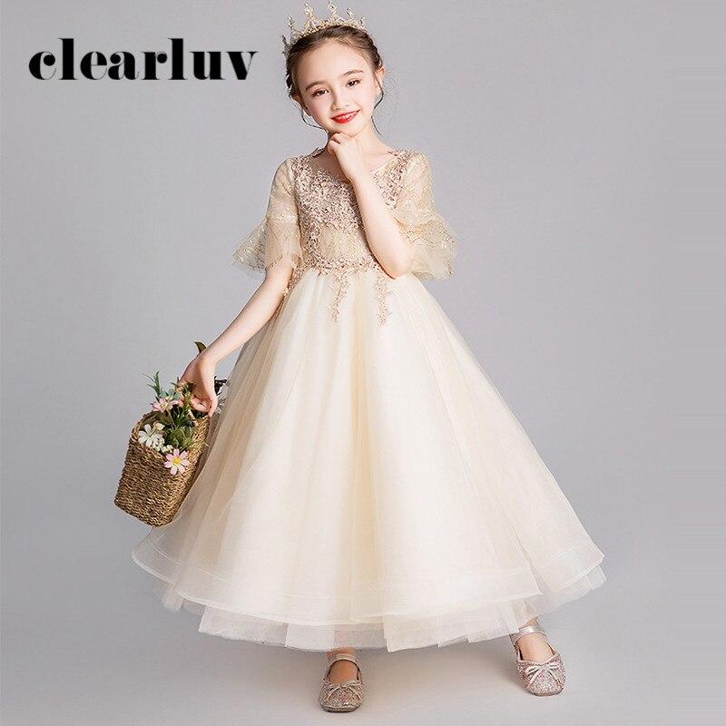 Flower Girl Dresses For Weddings B068 Champagne V-Neck Half Sleeve Girls Princess Dresses 2020 Appliques Zipper Girls Ball Gown
