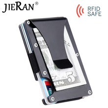 New Slim Credit Card Holder Aluminium ID Card Holder Man Mini Wallet with RFID Anti-theft Protection Metal Money Clip Card Case