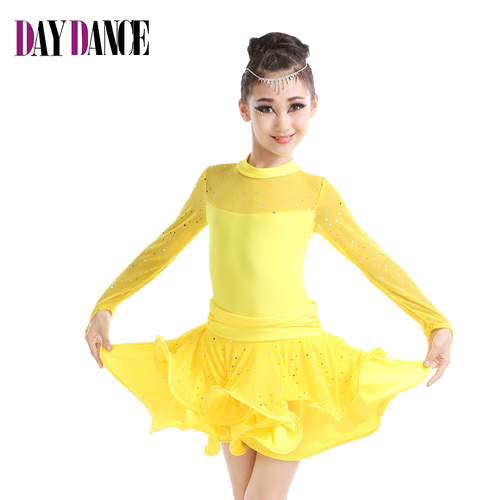 New Arrival Professional Girls High Neck Rhinstone Sequin Latin Dress Child Kids Mesh Long Sleeve Sexy Performance Dance Dress