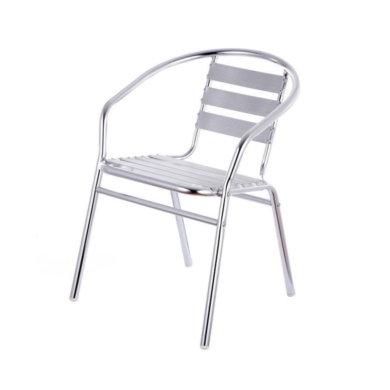 Stainless steel chair back chair household simple and economical aluminum chair armrest single iron metal leisure thickening