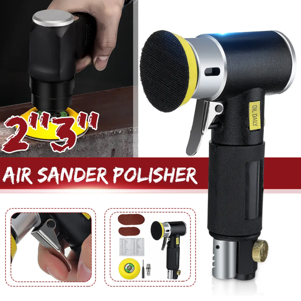 2'' 3'' Mini Air Sander Dual Action Random Air Orbital Sander Polisher Grinder Pneumatic Sander Sanding Tools Air Angle Polishin