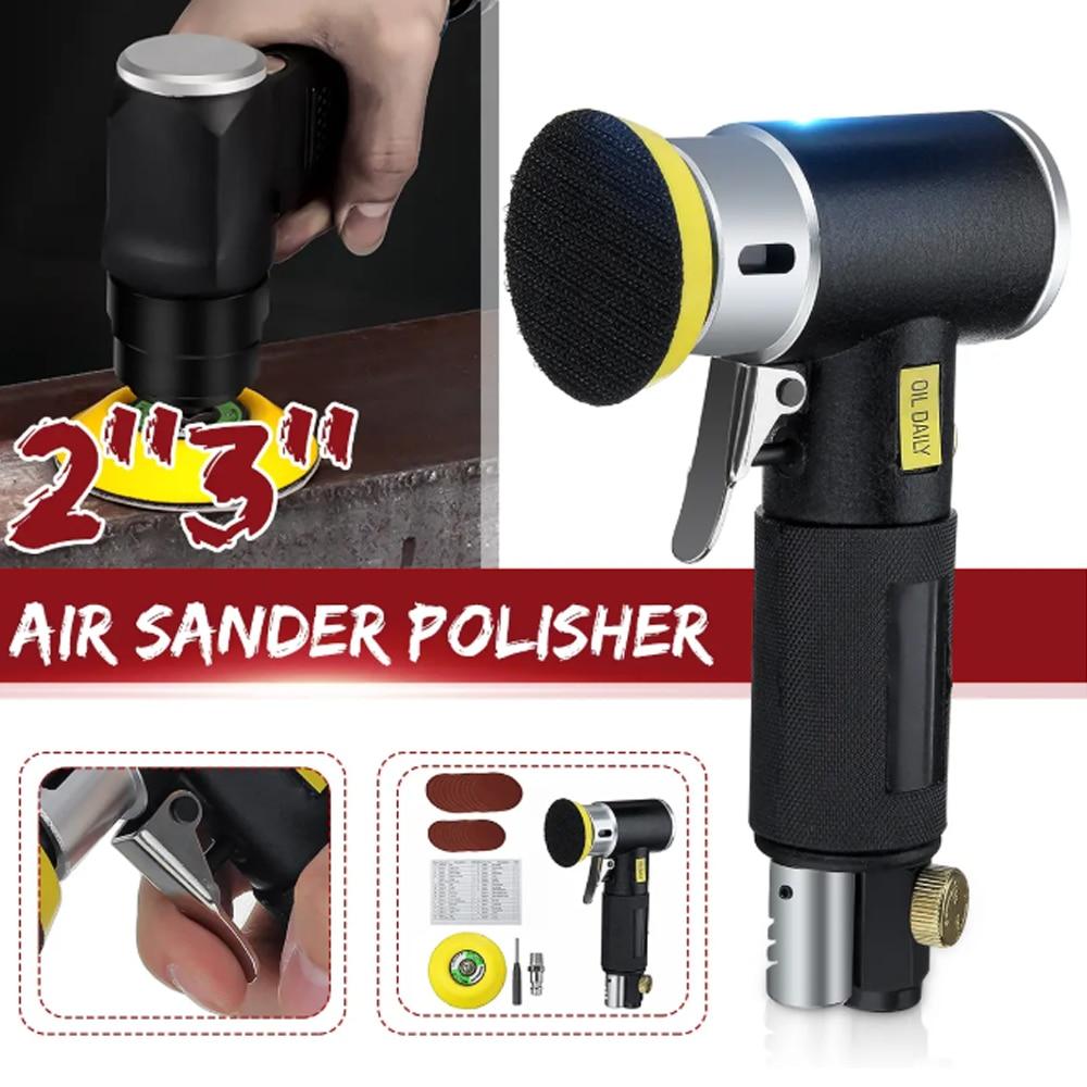 2'' 3'' Mini Air Sander Dual Action Random Air Orbital Sander Polisher Grinder Pneumatic Sander Sanding Tools Air Angle Polishin