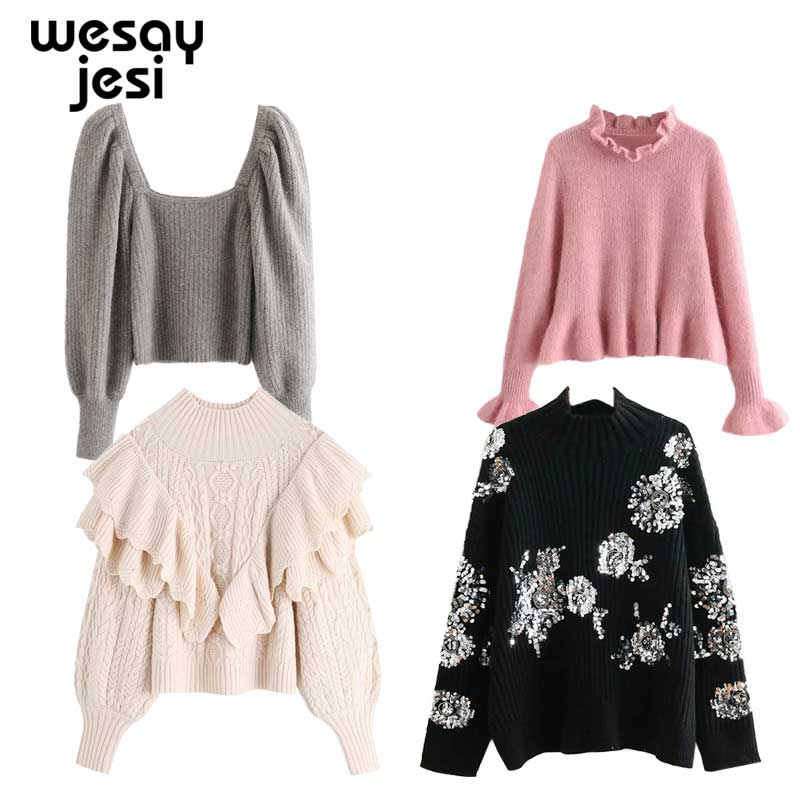 2020 Women Clothes Turtleneck Sweater Autumn Winter Long Sleeve Ruffle Jumper Knitted Slim Bow Pullover Femme Chic FemaleSweater