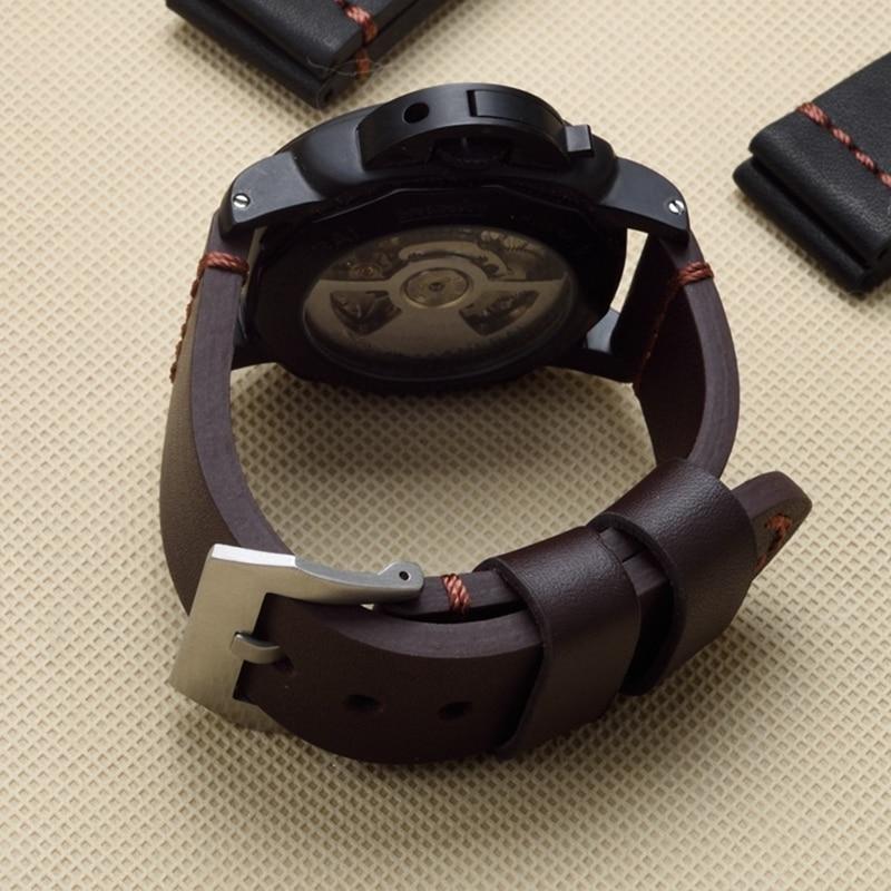 Thick Men 22mm 24mm 26mm Black Brown Genuine Leather Watchband Wristband For PAM Panerai Big Pilot Watch Garmin Fenix3 Strap