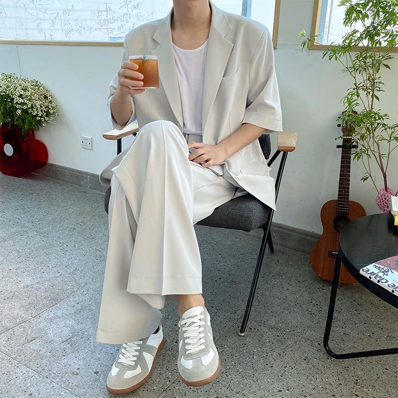 Men Summer 2 Pieces Suits Sets Thin Short Sleeve Suit Blazers Jacket Pant Male Korea Japan Style Streetwear Fashion Show Suits
