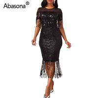 Plus Size S 5XL Spring Summer Tassels Sequined Black Sexy Bodycon Midi Dress Mesh Patchwork Bling Bandage Dress Party Night Club