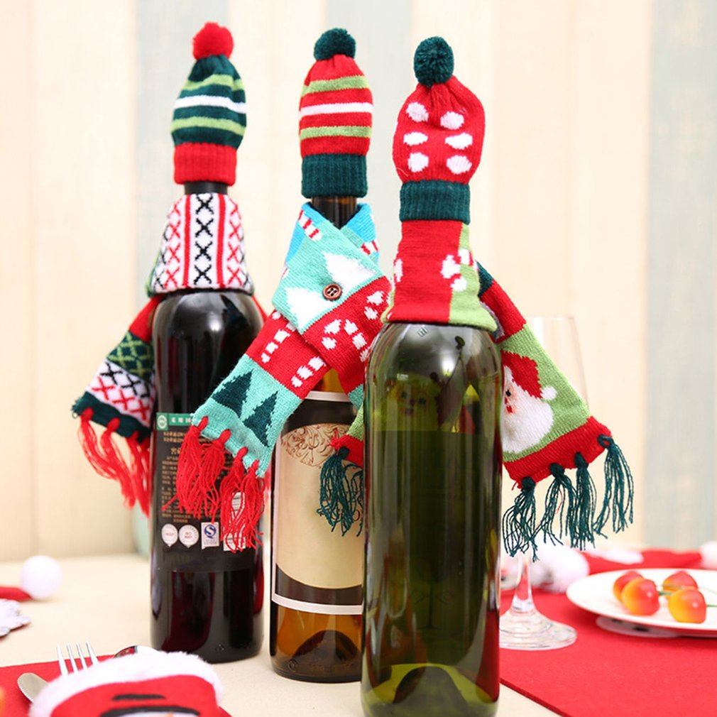 Knitted Tassel Scarf & Hat Cap Christmas Red Wine Bottle Cover Decoration Home Party Novelty Great Gifts