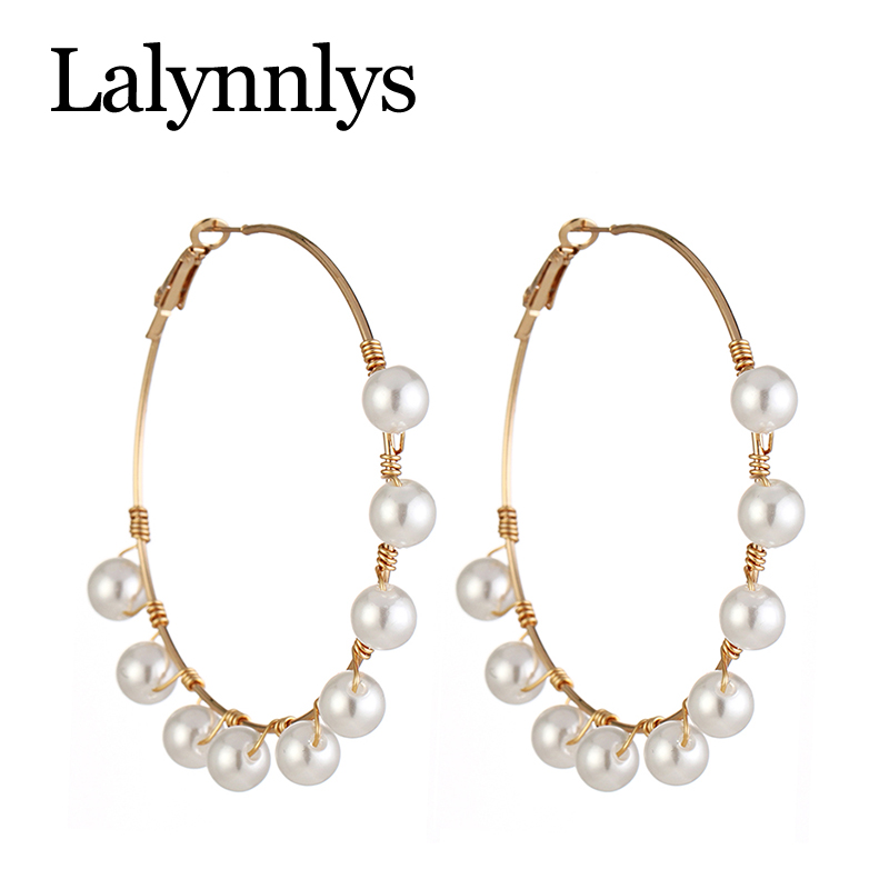 Lalynnlys Fashion Elegant Imitation Pearl Drop Dangle Earrings for Women Big Circle Round Earring Party Wedding Jewelry E54781 15