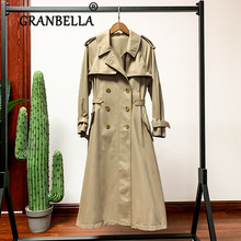 2019 spring autumn Windswear Female Trench Coat double breasted lapel waist with belt women long overcoat autumn winter trench coat with belt double breasted long sleeved solid lapel long trench coat laipelar european trench for women
