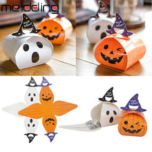 MEIDDING 10PCS Halloween Pumpkin Paper Candy Box Hallowmas Party Supplies Gift Favors Funny Ghost Decor