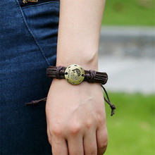 12 Constellations Bracelet Men Leather Male Wristband Vintage Punk Friendship Bracelets for Women Charm Jewelry
