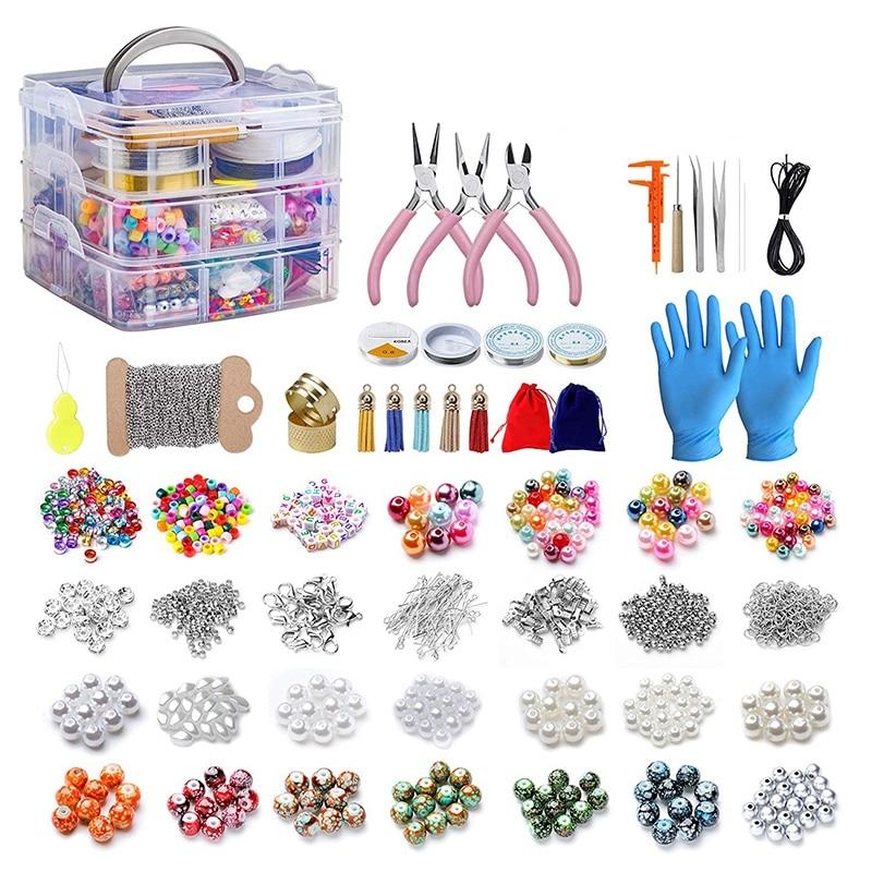 2456 pièces de Kit de fabrication de bijoux, Kit d'outils de fabrication de bijoux avec des perles de bijoux, pinces à bijoux, fil perlé, boîte de rangement, bijou